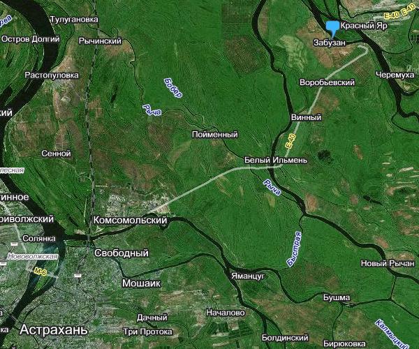 40 км от г. Астрахань;